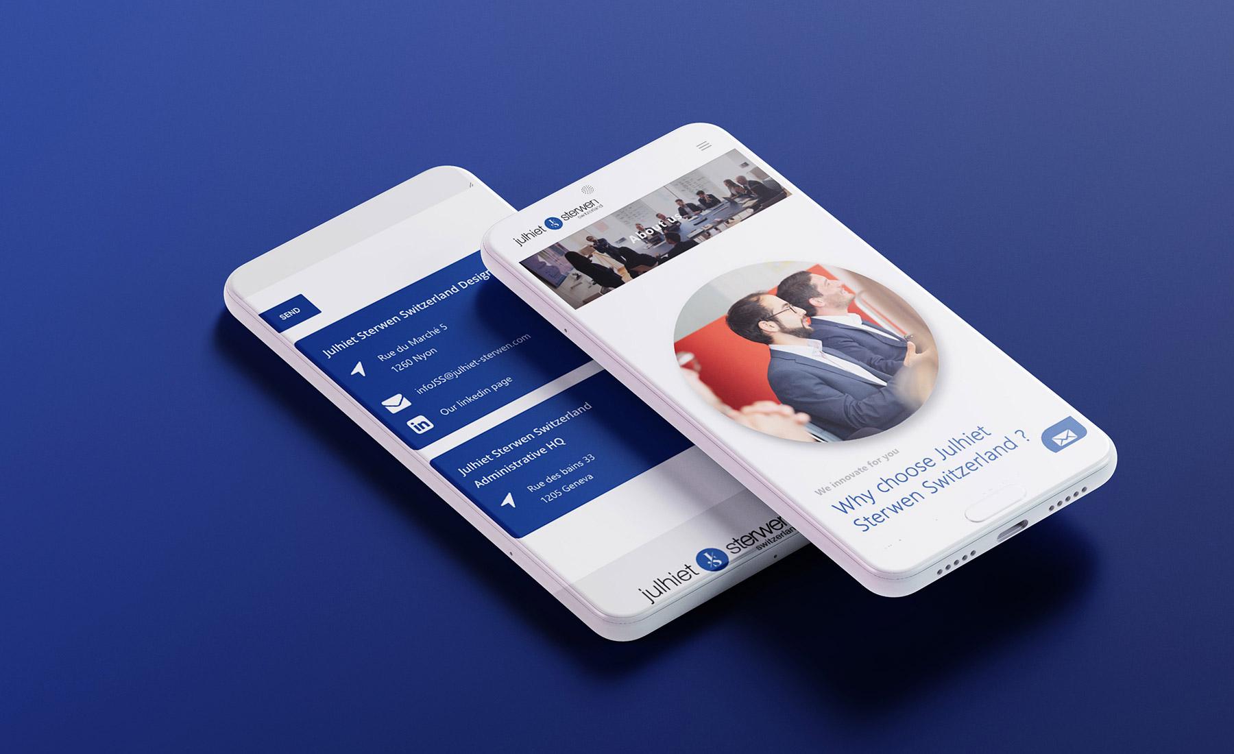 Mockup de site web de Julhiet Sterwen version smartphone