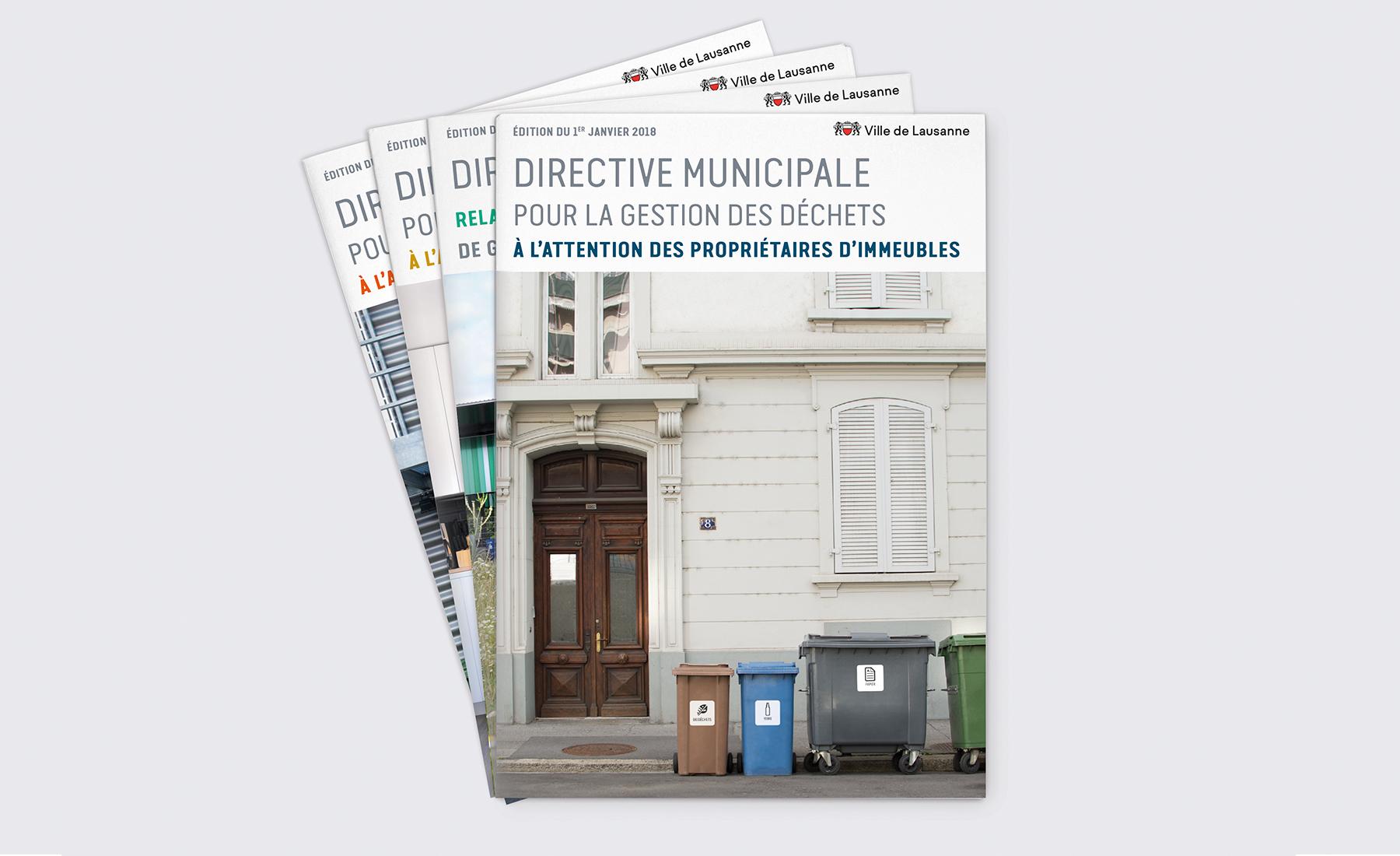 Les 4 brochures des directives municipales 2018 de Lausanne.