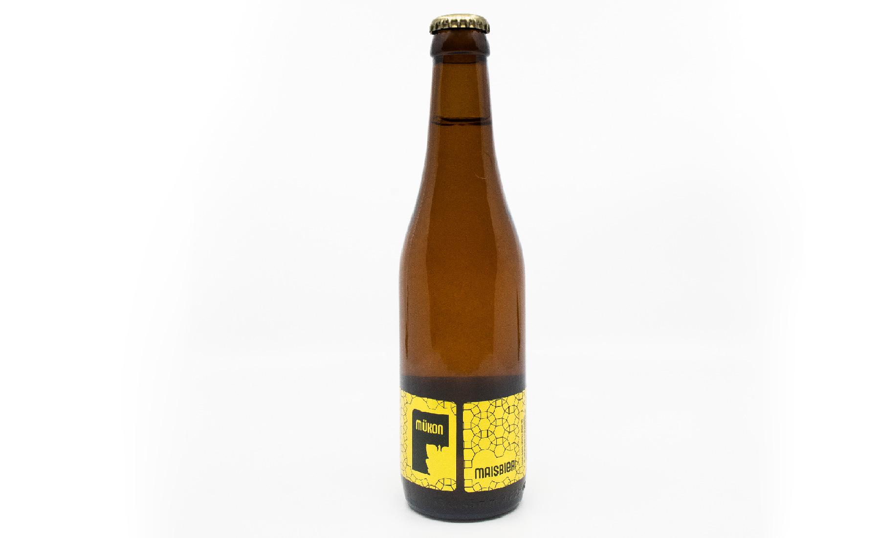 Etiquette jaune de la bière Mükon