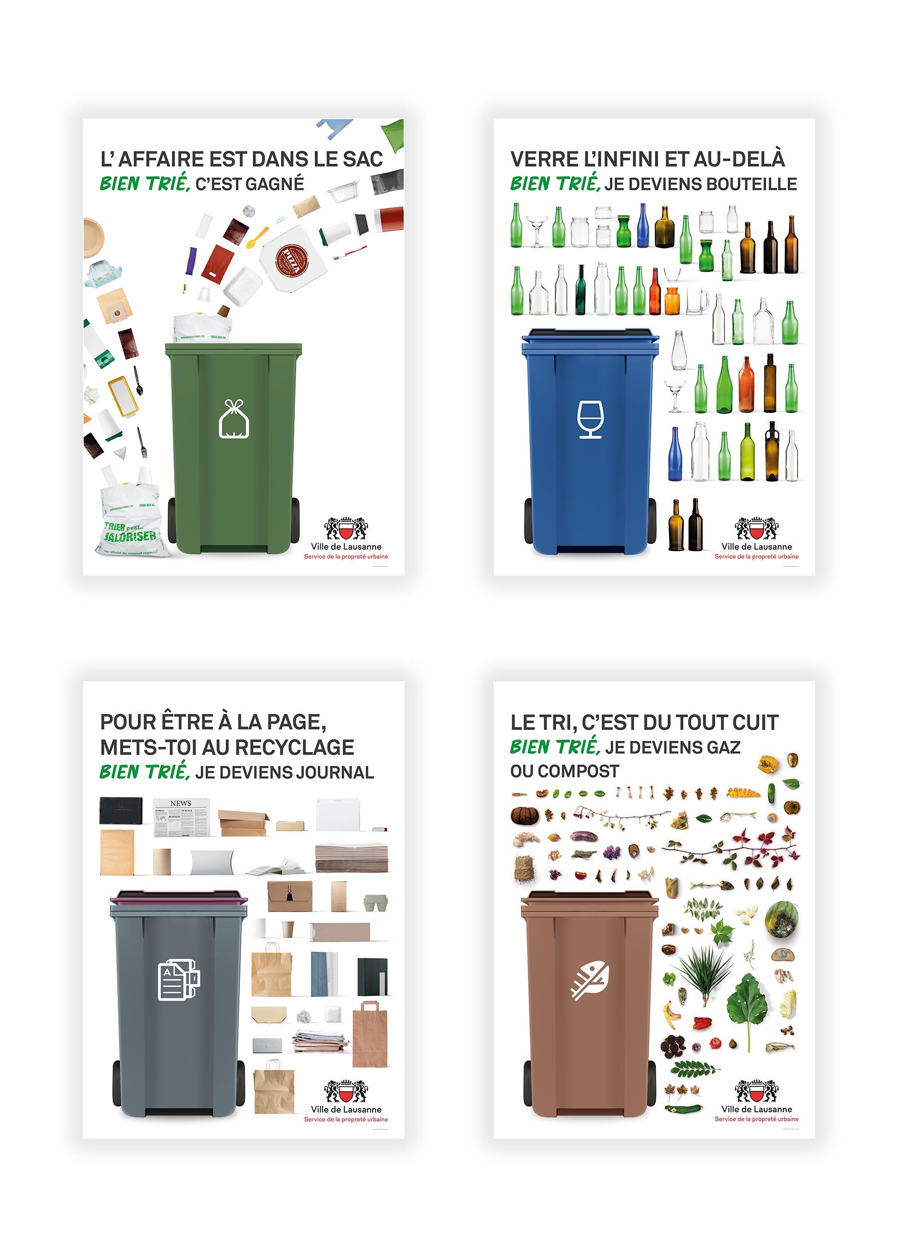 Affiches lausannoise de la campagne 2019 sur le tri des déchets