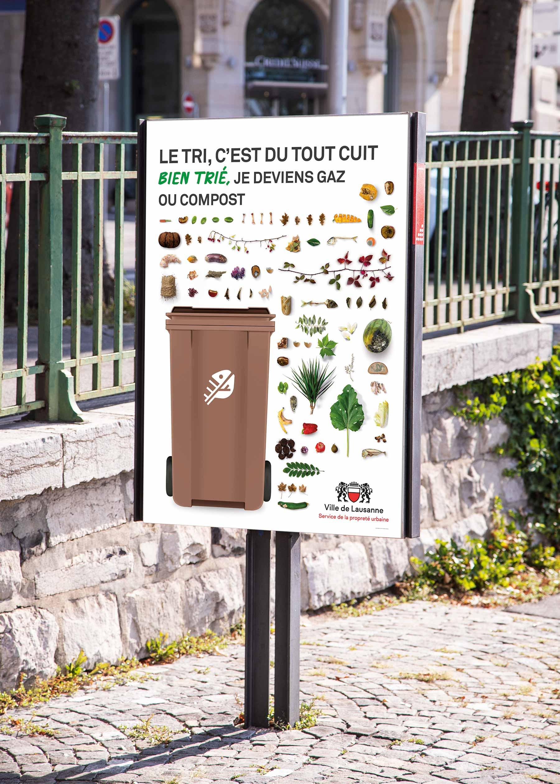 Affiche de tri des déchets à Lausanne