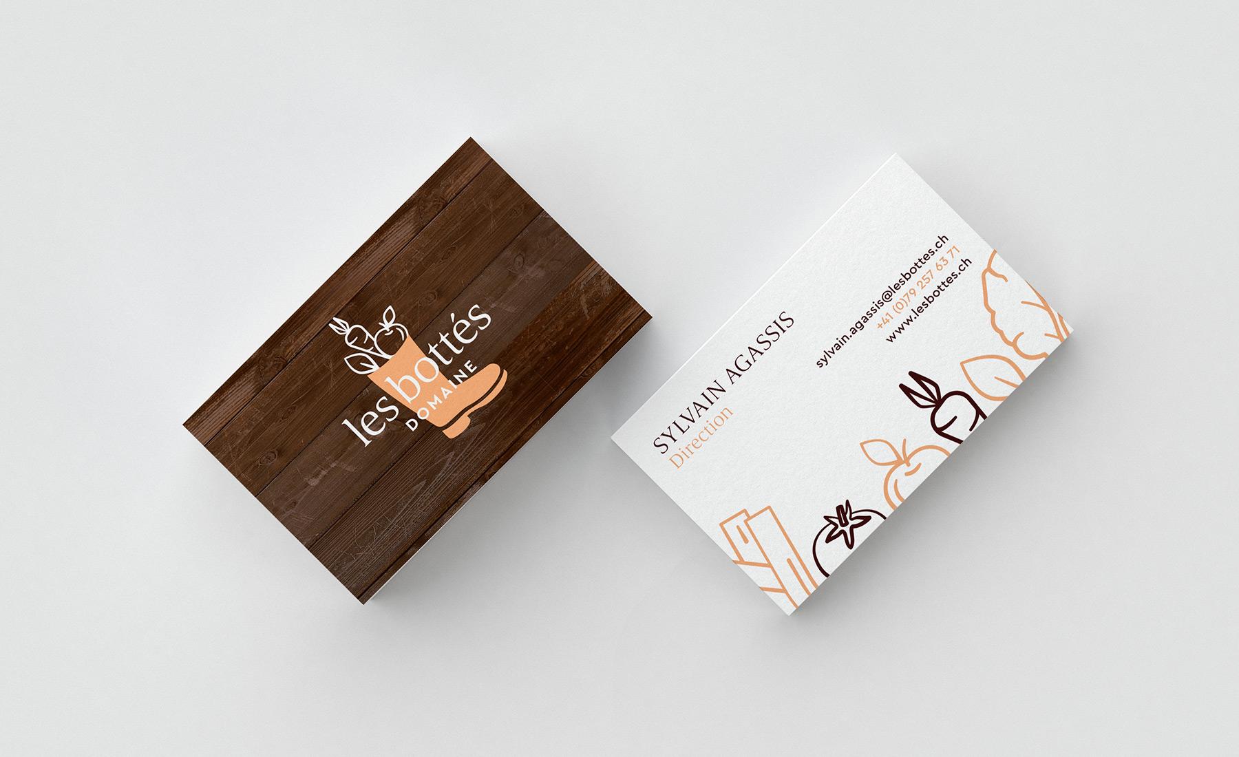 Cartes de visite des Bottés, Graphisme de Hybride Design