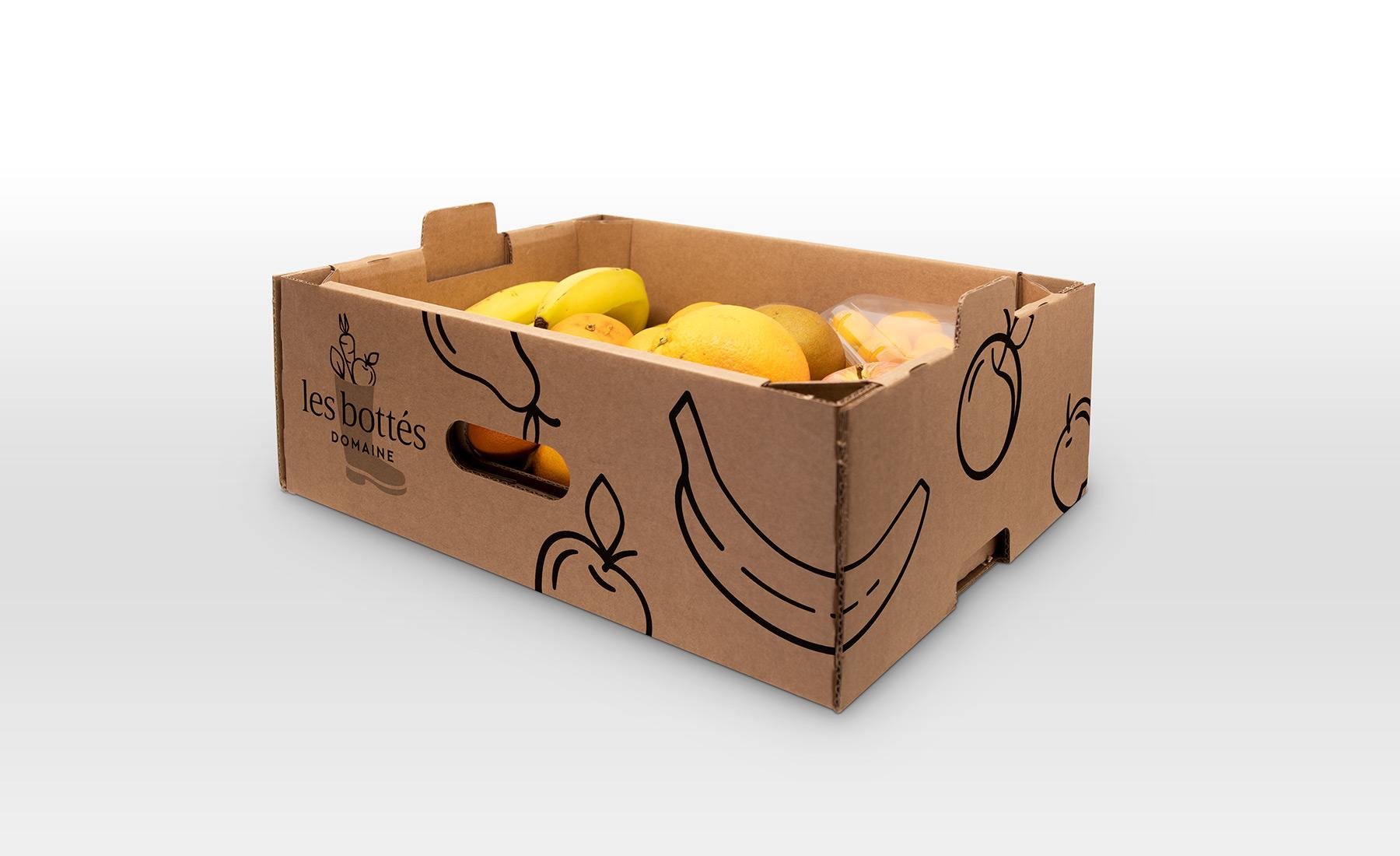 Habillage graphique de panier de légumes pour Les Bottés de Hybride Design