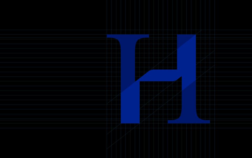 Banner principale pour la page graphisme avec un grand H sur une grille